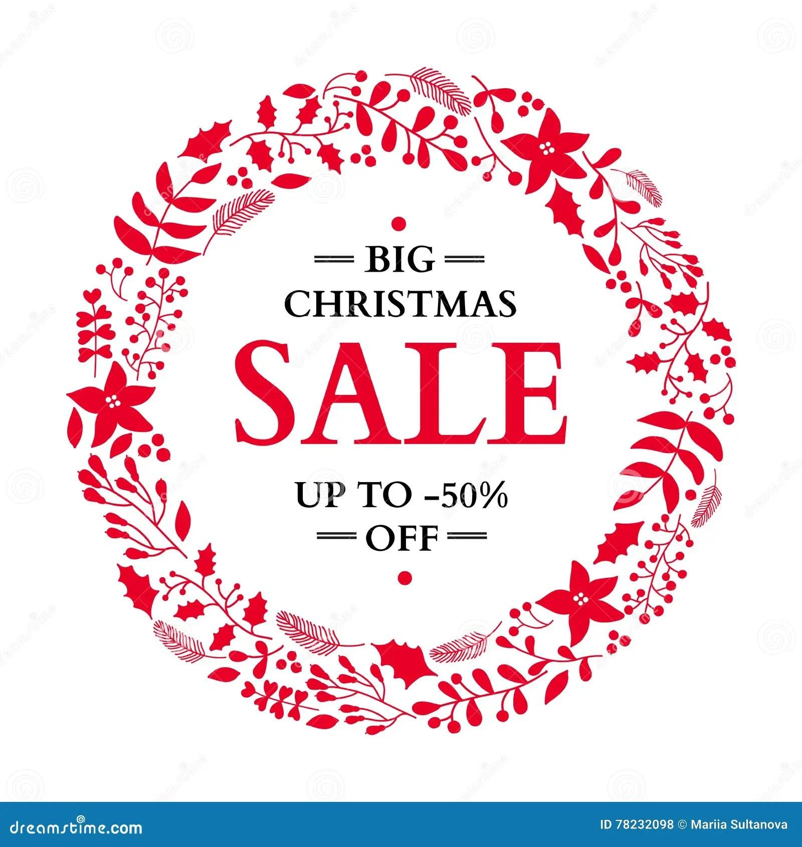 Christmas Sale Floral Decorative Frame Vector