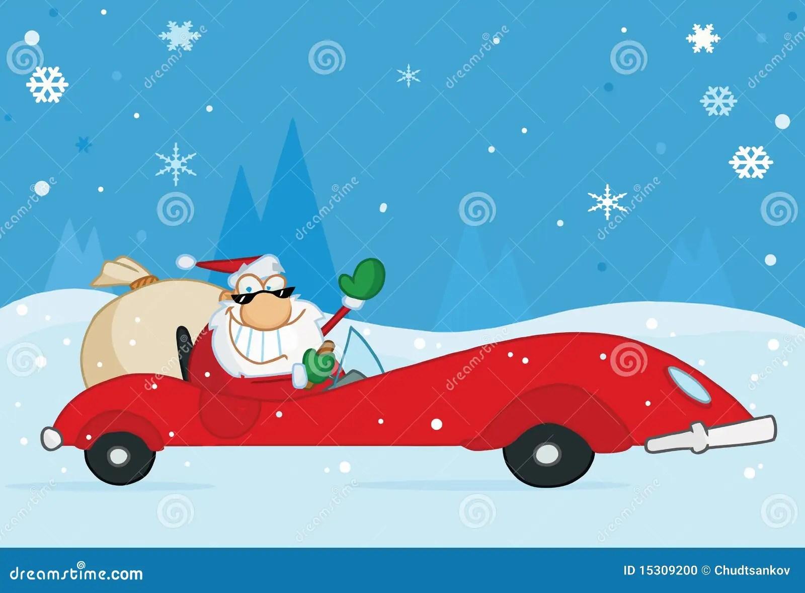 Christmas Santa Waving From His Red Sports Car Stock