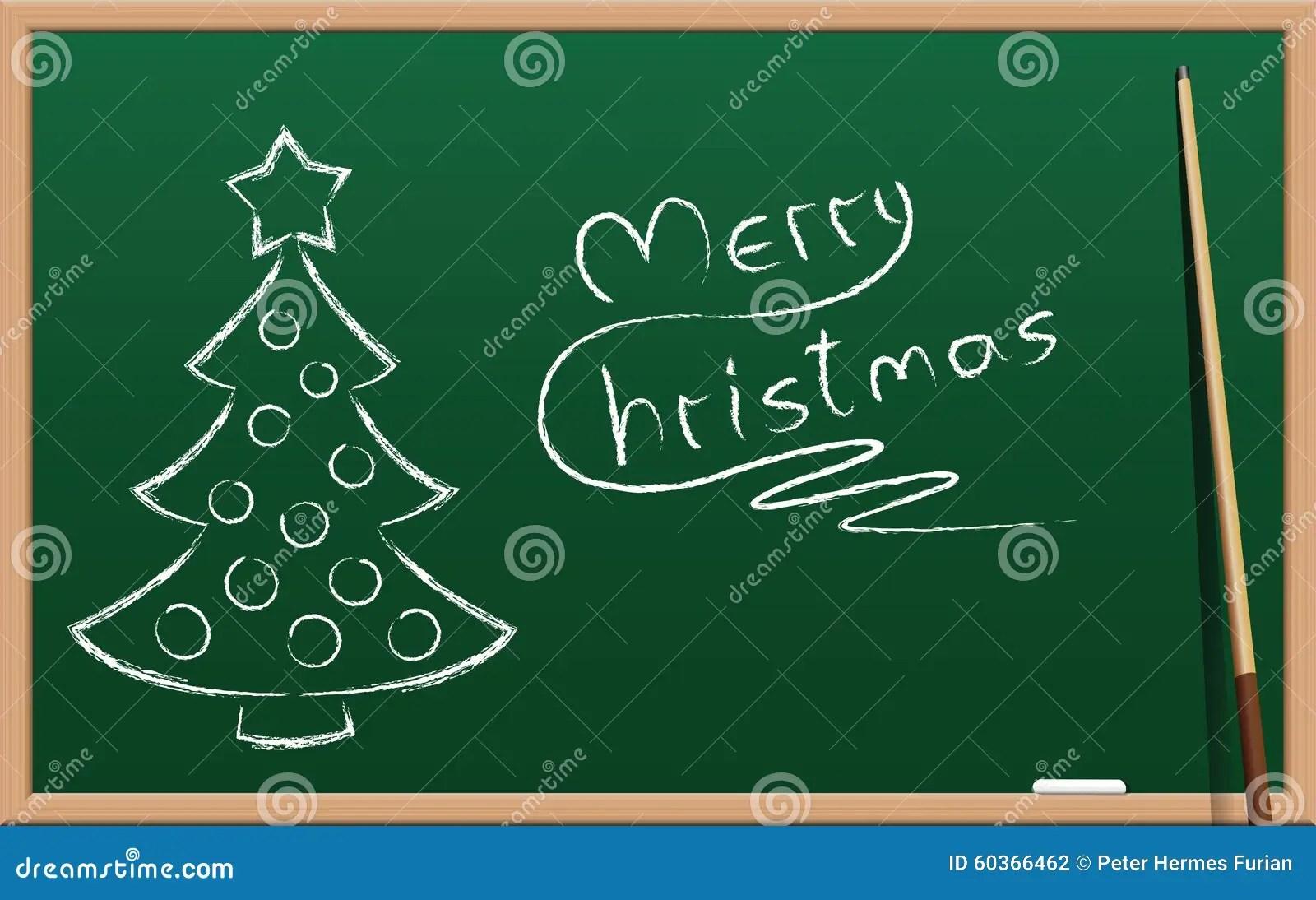 Christmas School Holidays Chalk Board Stock Vector Image