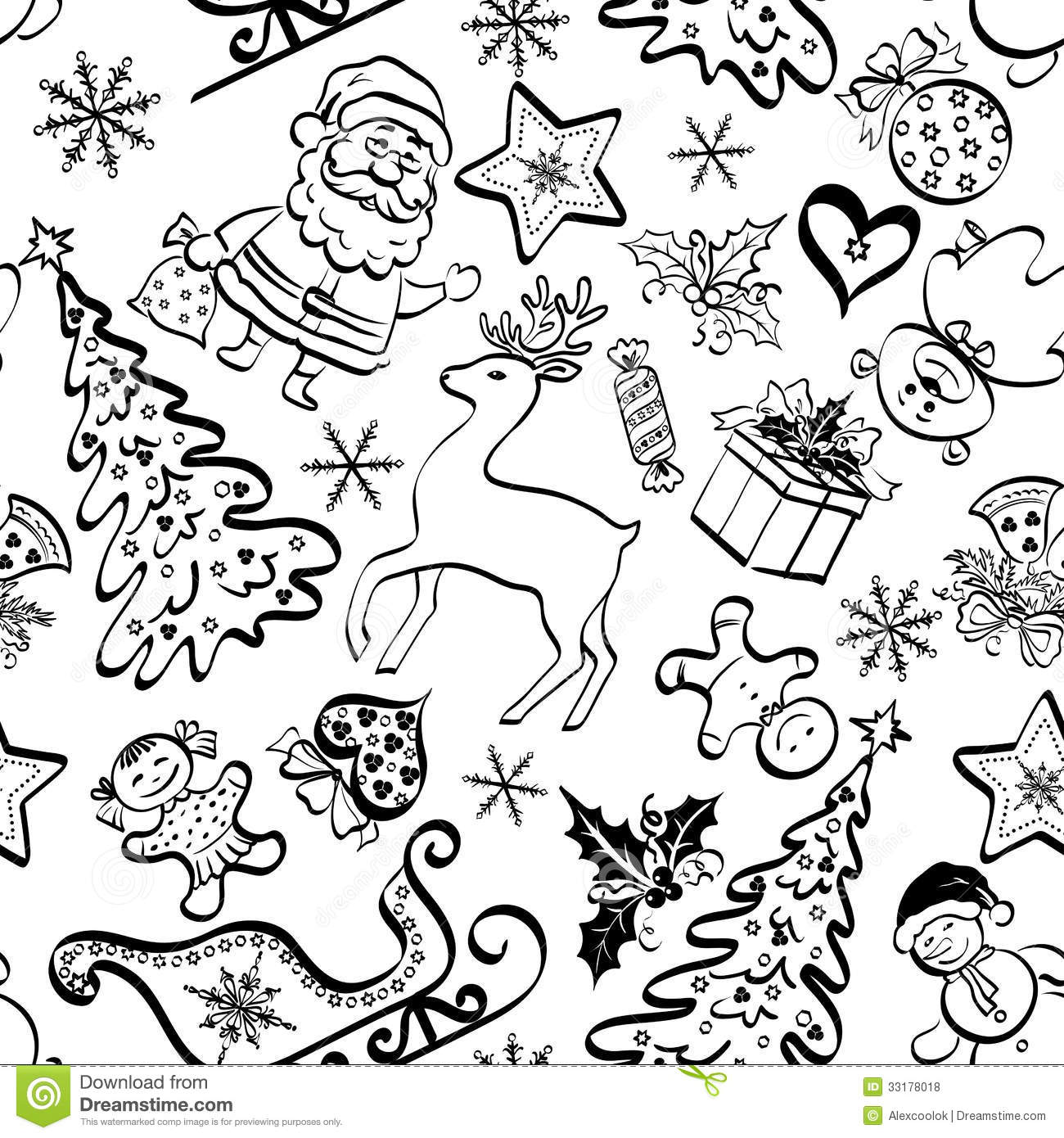 Christmas Seamless Pattern Contour Stock Vector