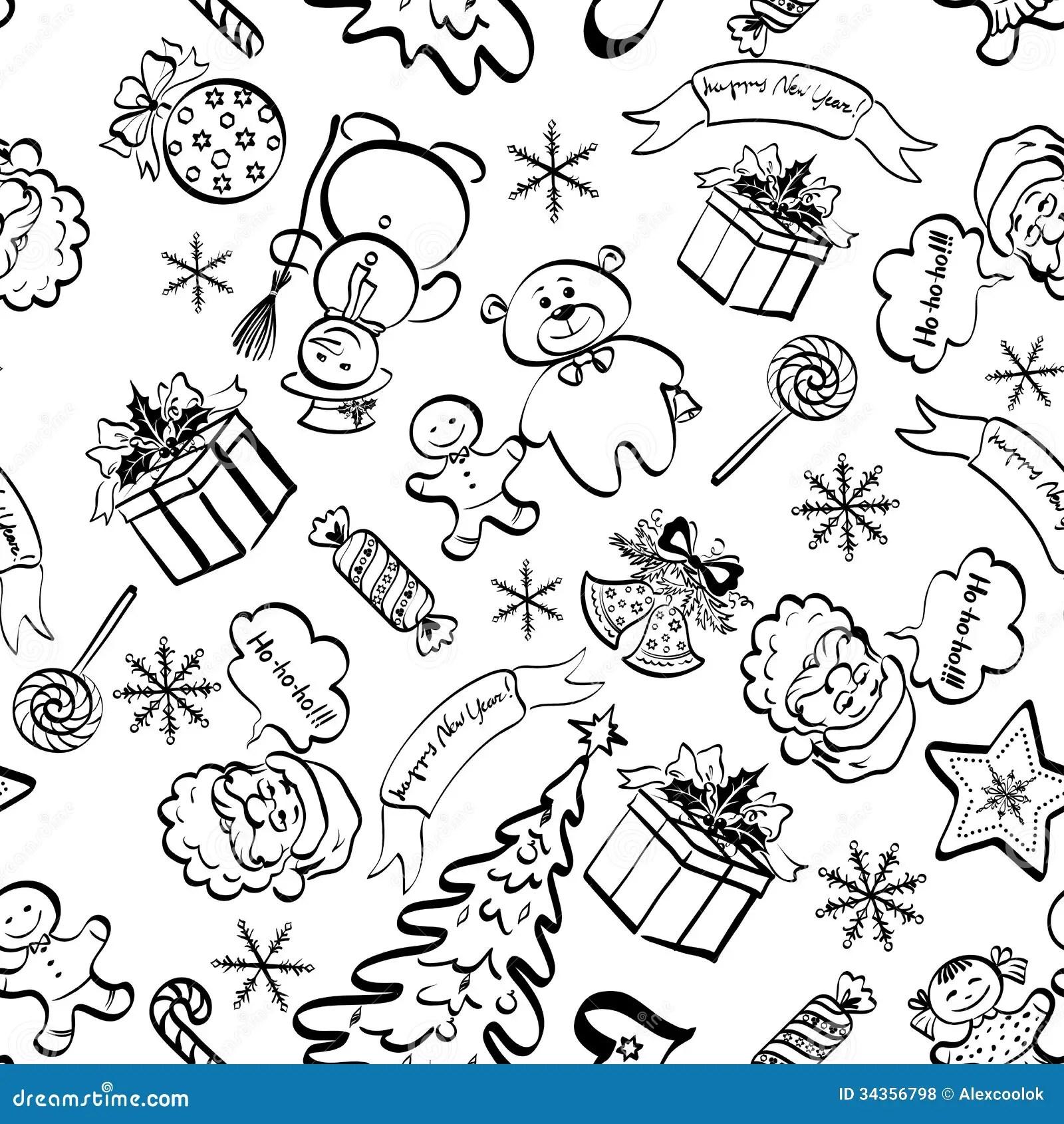 Christmas Seamless Pattern Contour Vector Illustration