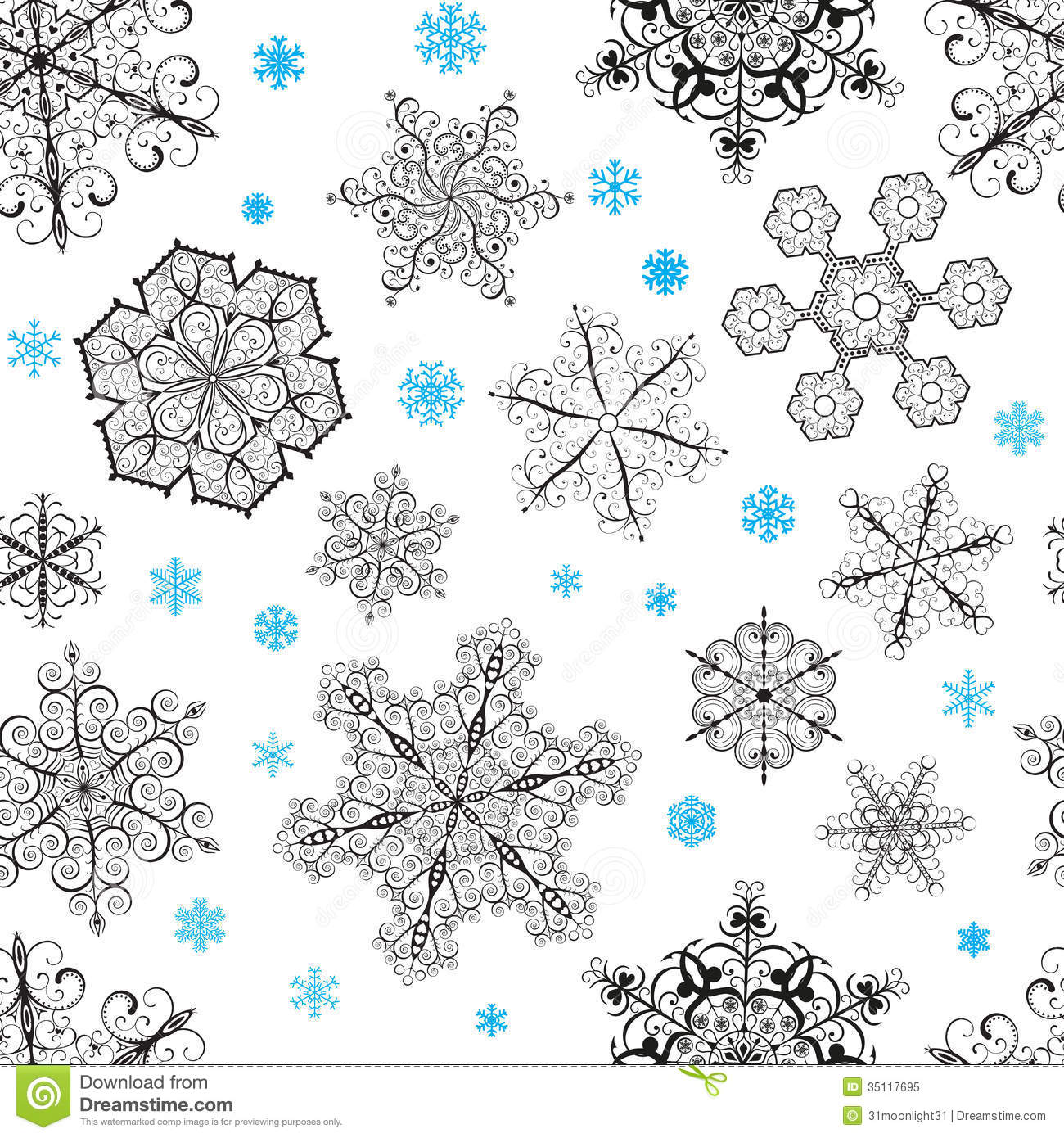 Christmas Seamless Pattern From Snowflakes Royalty Free