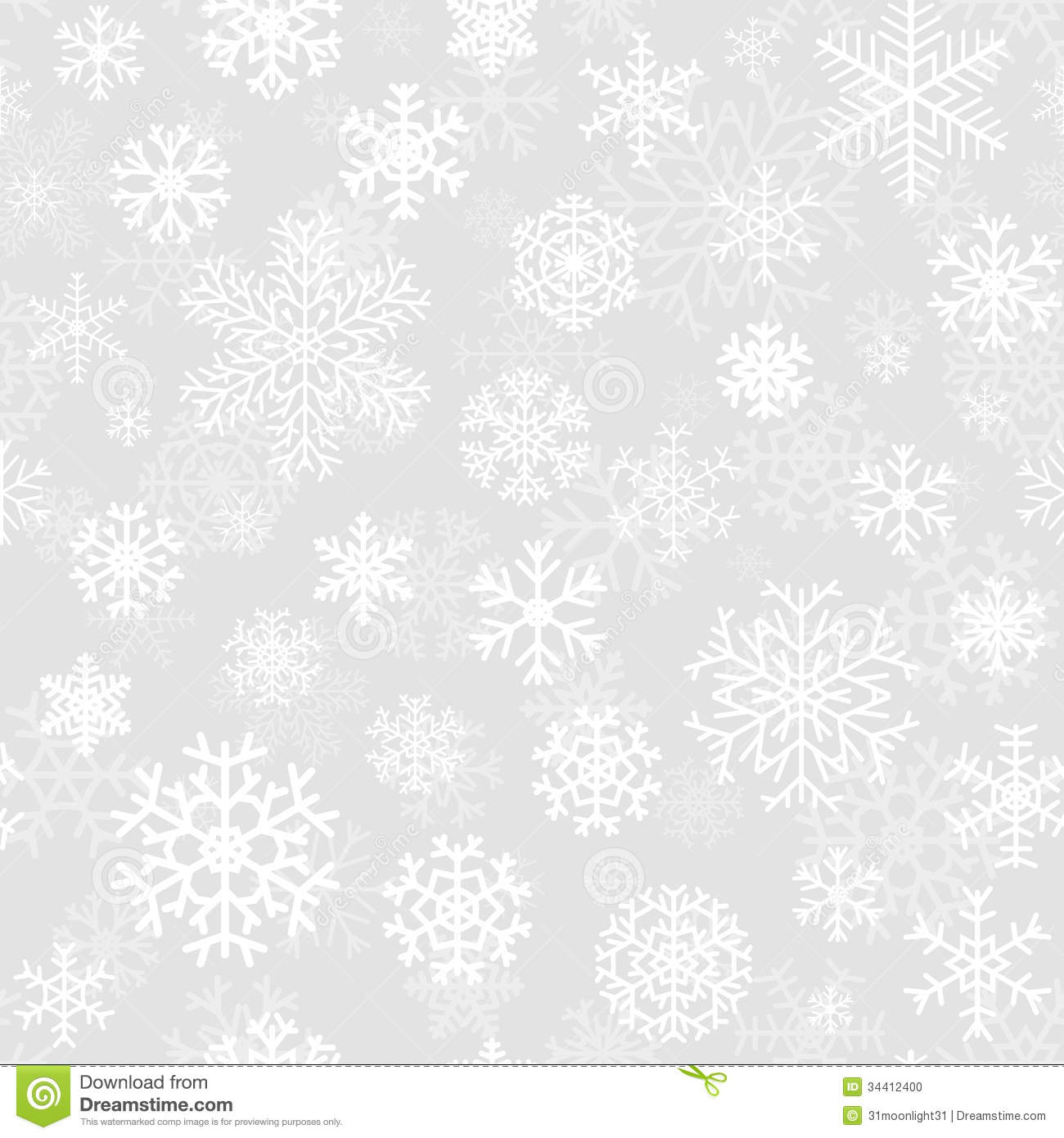 Christmas Seamless Pattern From Snowflakes Stock Photo