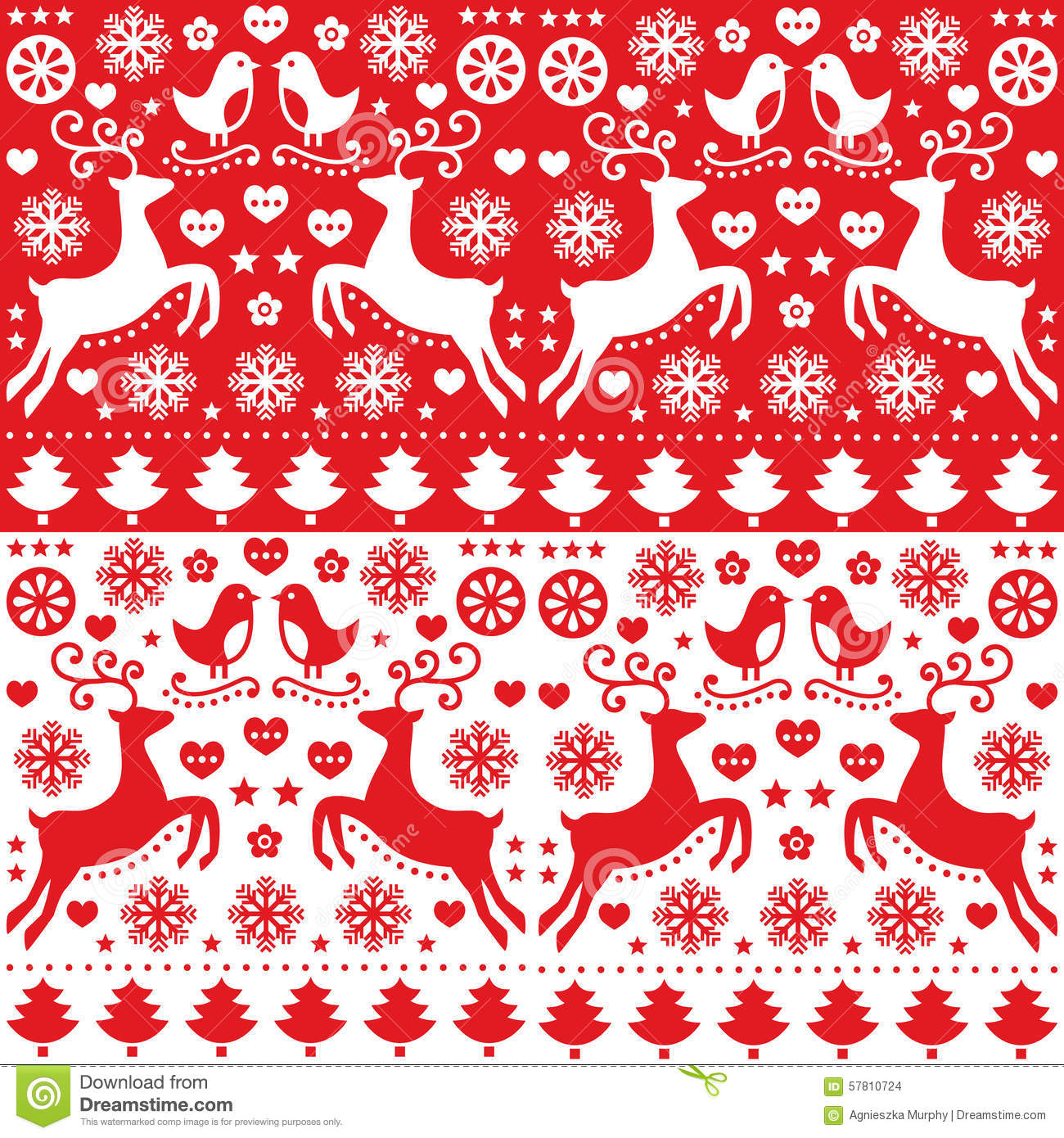 Christmas Seamless Red Pattern With Reindeer Folk Style
