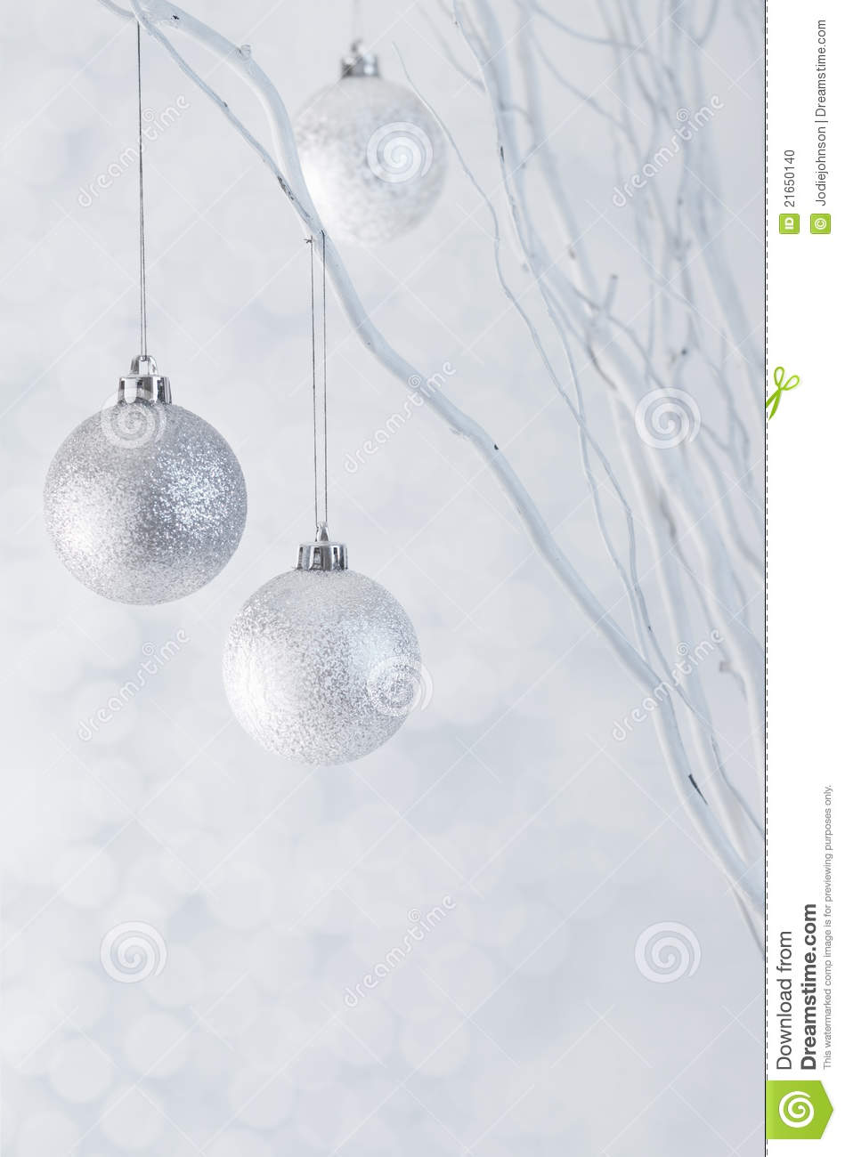 Christmas Silver Balls On Sparkle Background Stock Photo