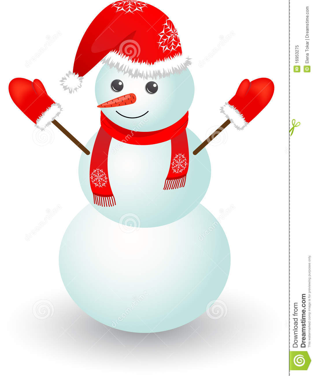 Christmas Snowman In Red Hat Stock Vector Illustration