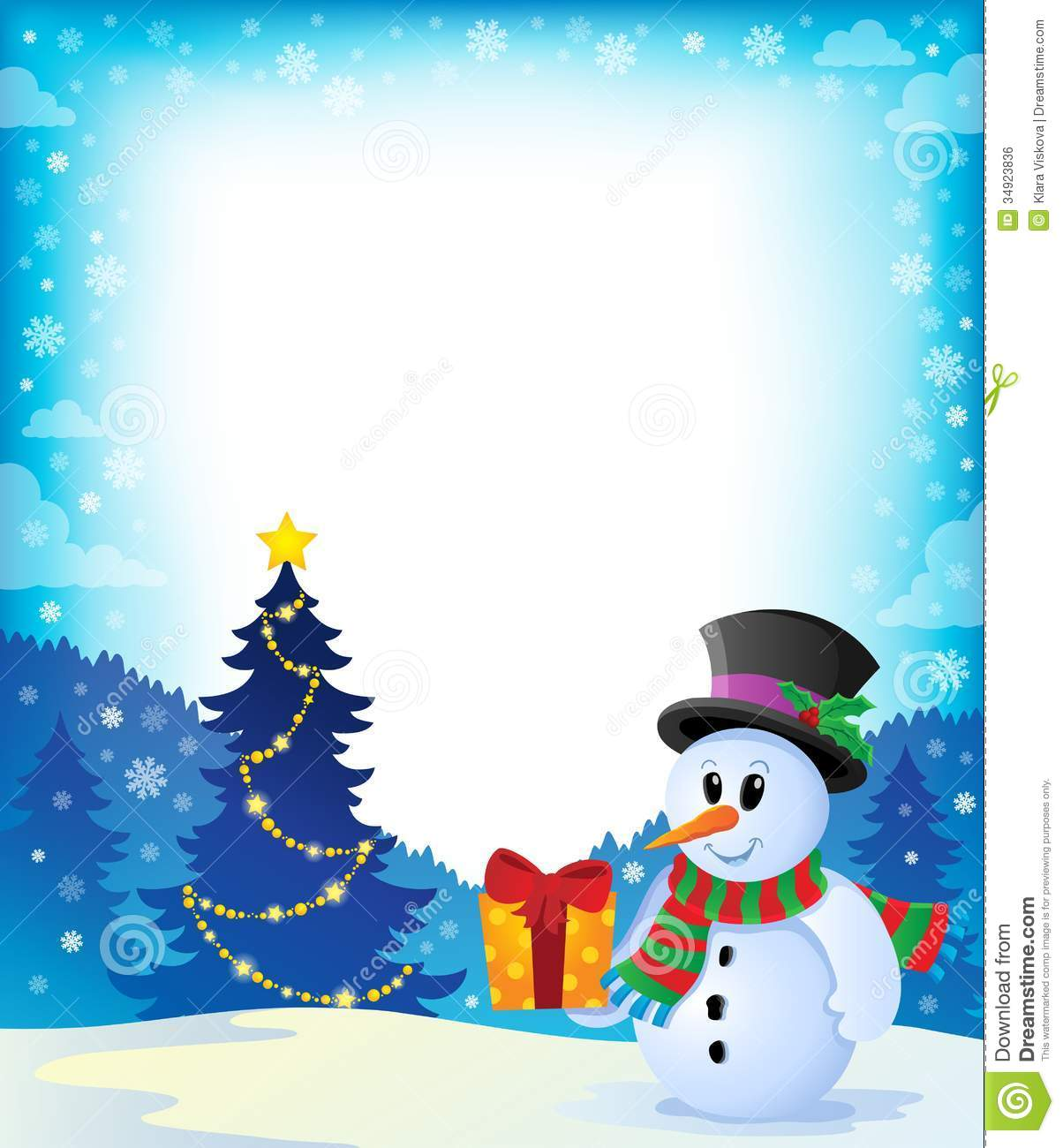 Christmas Snowman Theme Image 2 Stock Vector