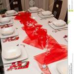 Christmas Table Setting With White Plates And Red Decorations Stock Photo Image Of Cutlery Clean 99534532