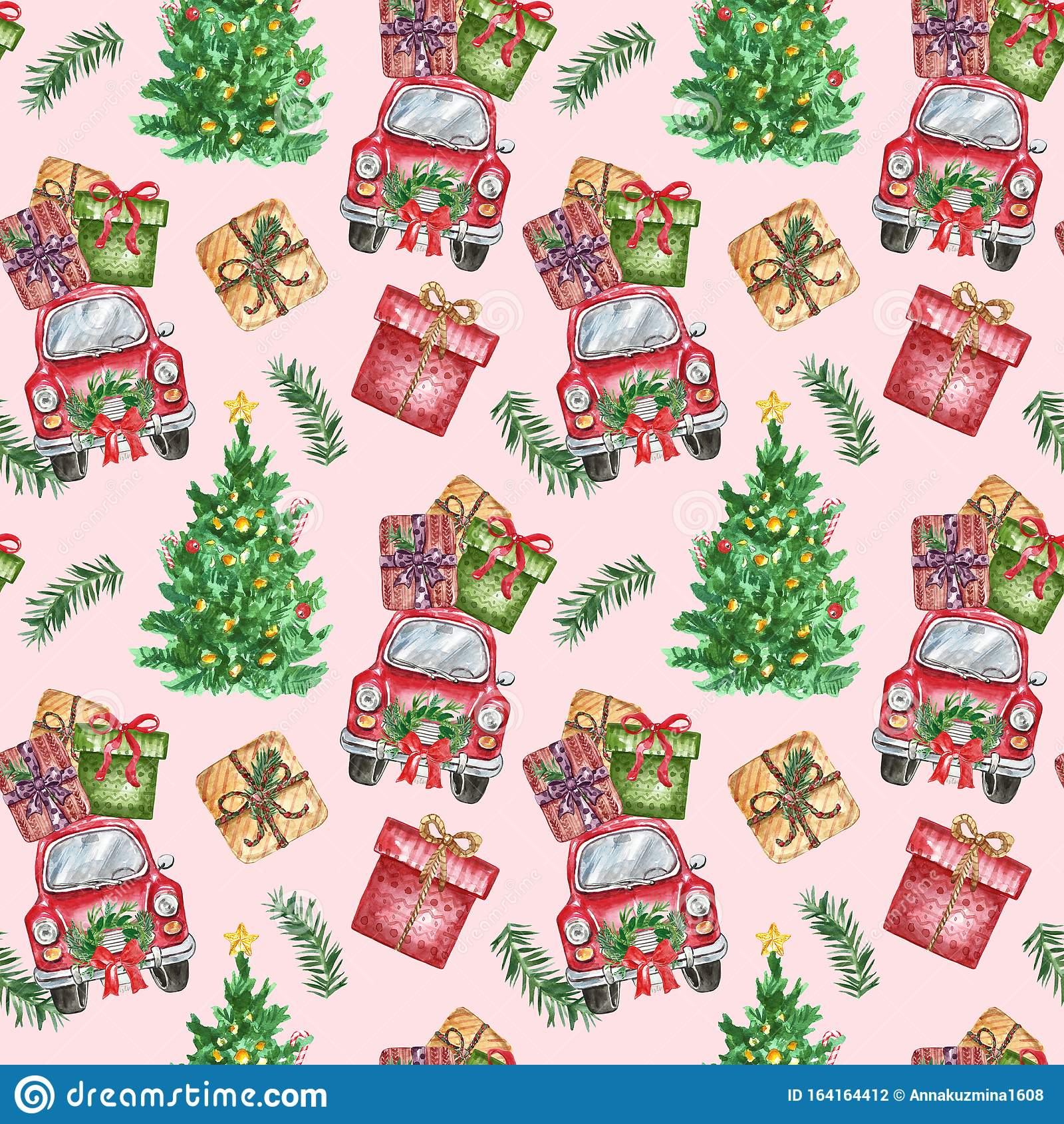 Christmas Themed Seamless Pattern With Watercolor Symbols