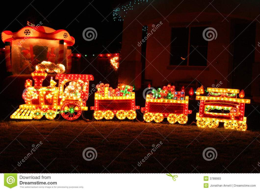 Christmas yard decoration train for Outdoor christmas train decoration