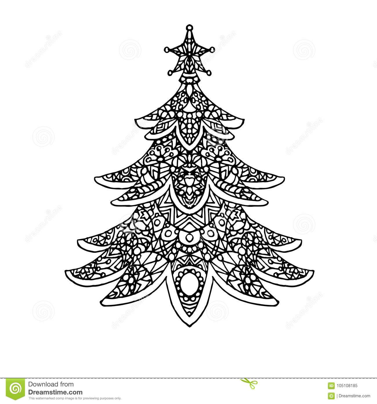 Christmas Tree Coloring Page Stock Illustration