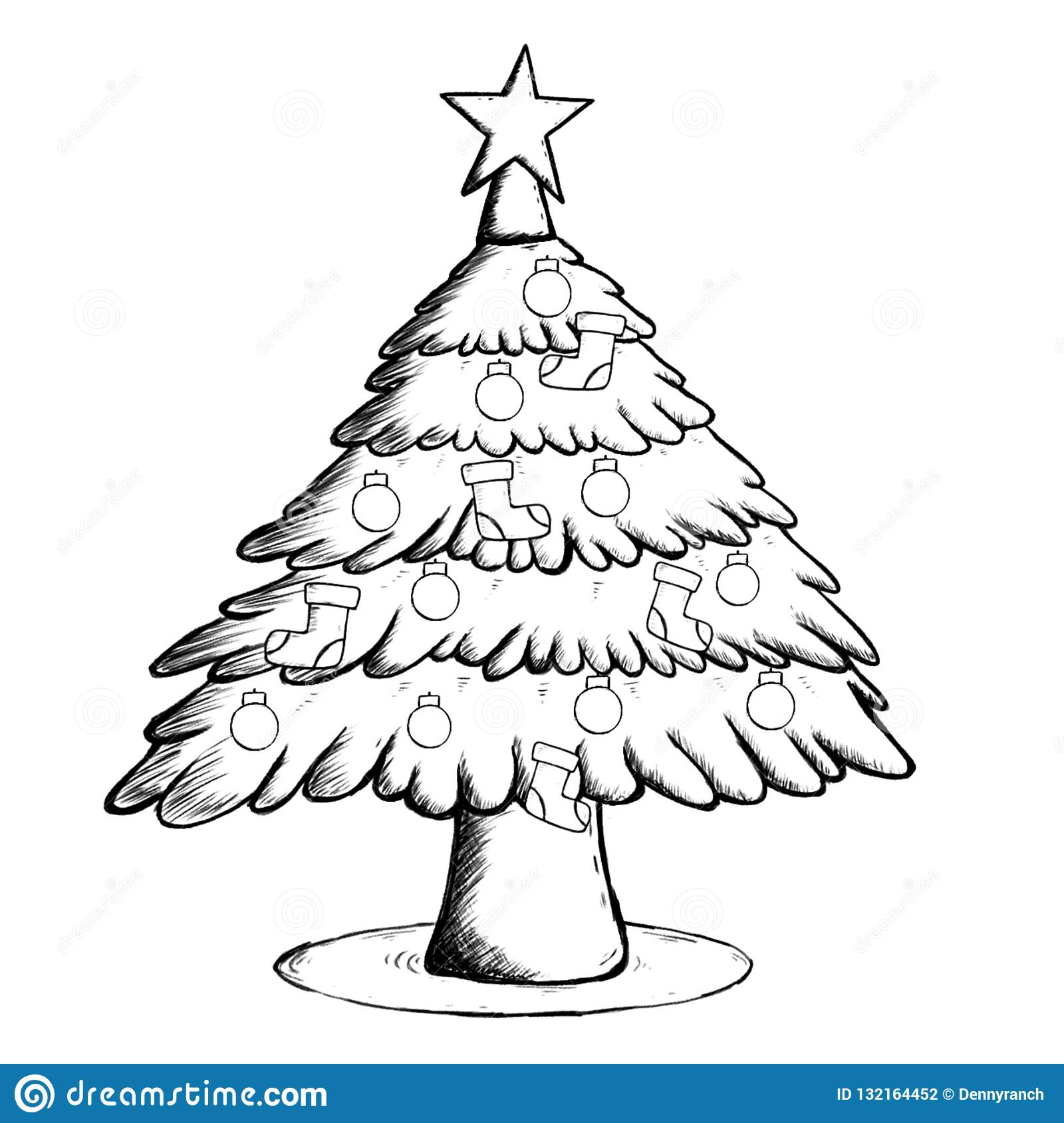 Christmas Tree Coloring Page Stock Illustration Illustration Of Outline Gift 132164452