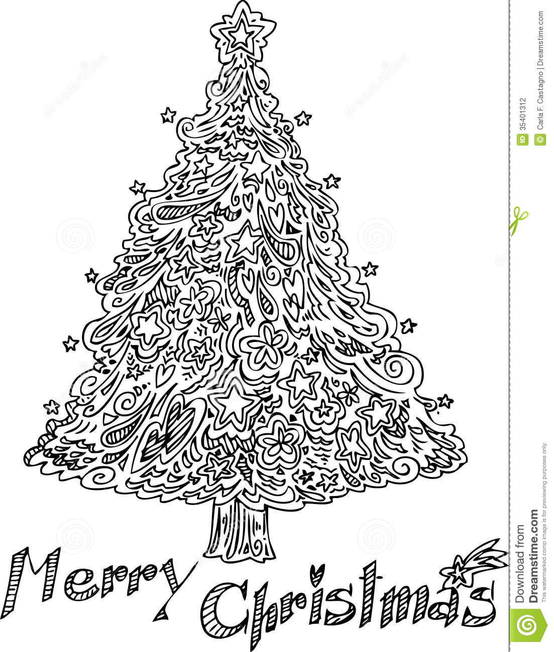 Coloring Christmas Tree Vector Stock Photography