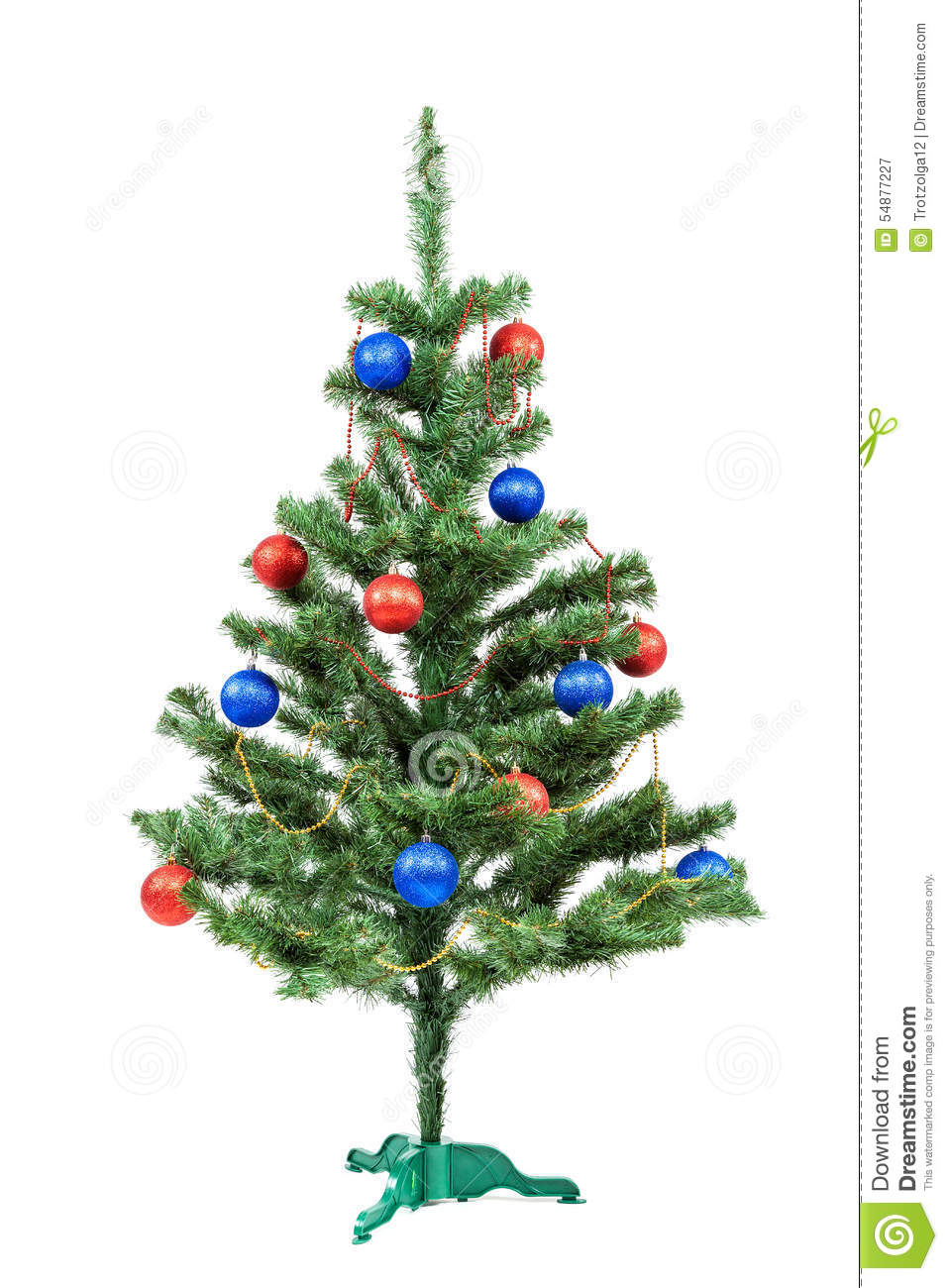 christmas tree decorated red and blue balls