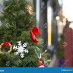 Christmas Tree Decoration Near The Restaurant Outdoor Shoot Stock Photo Image Of Merry Beautiful 83454846