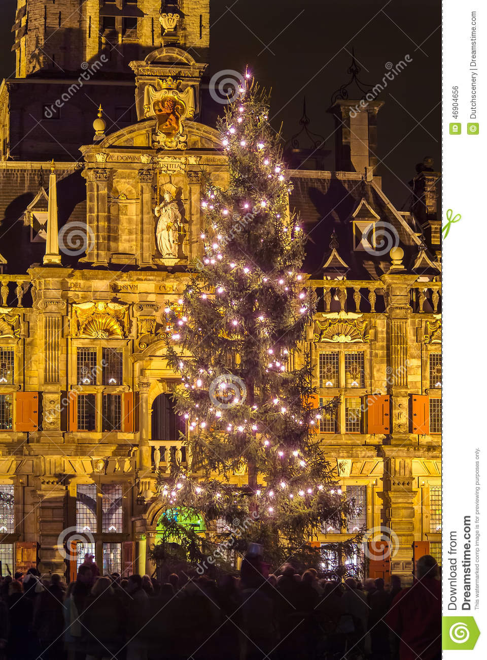 Christmas Tree In Delft The Netherlands Stock Photo