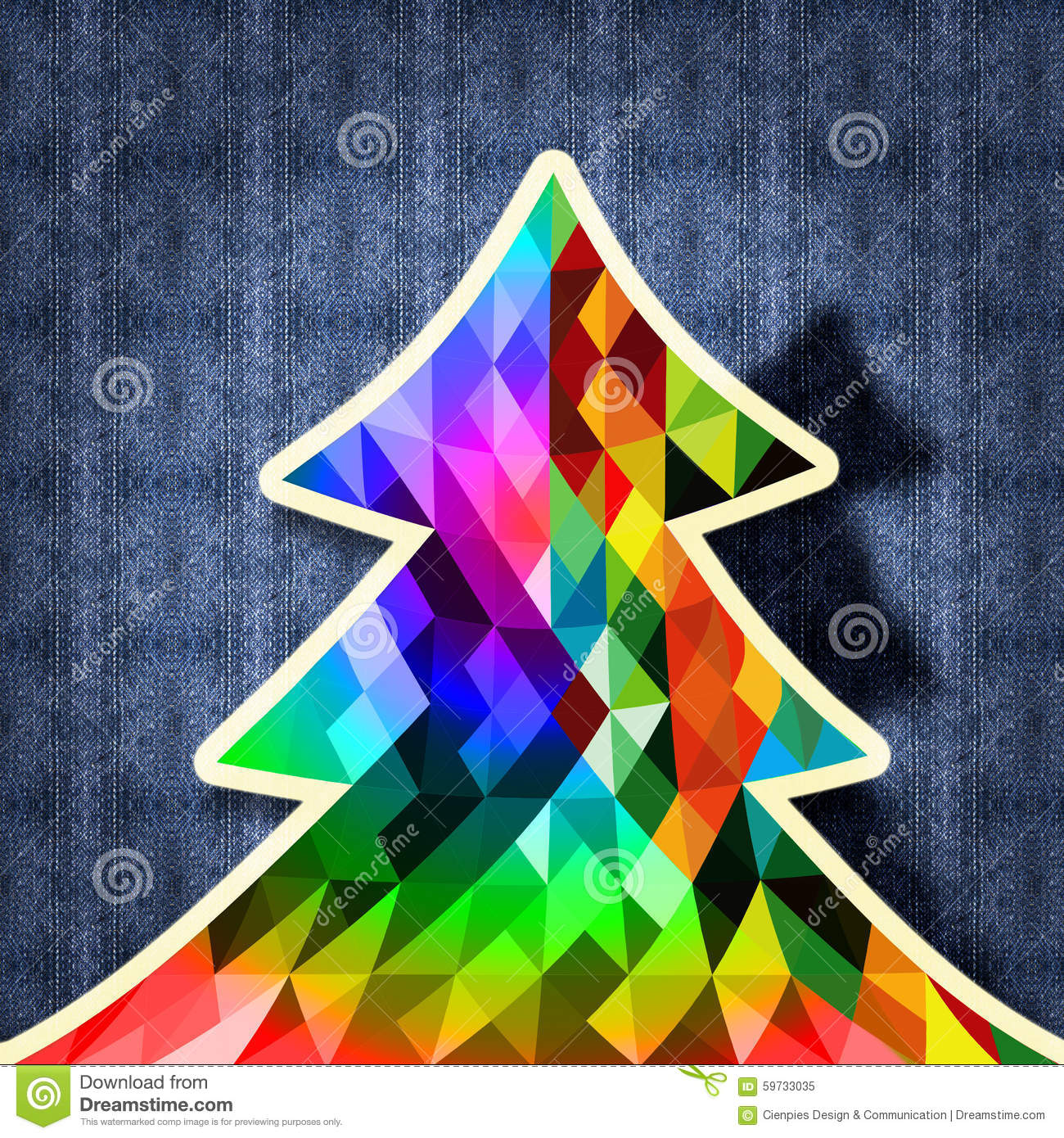 Christmas Tree Design Hipster Fabric Background Stock