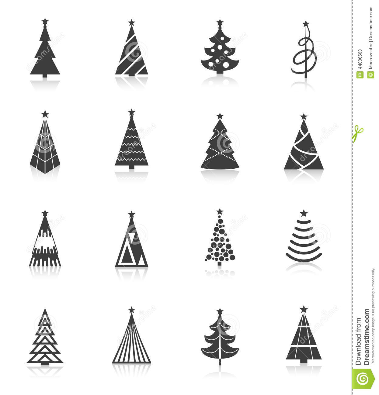 Christmas Tree Icons Black Stock Vector Image Of