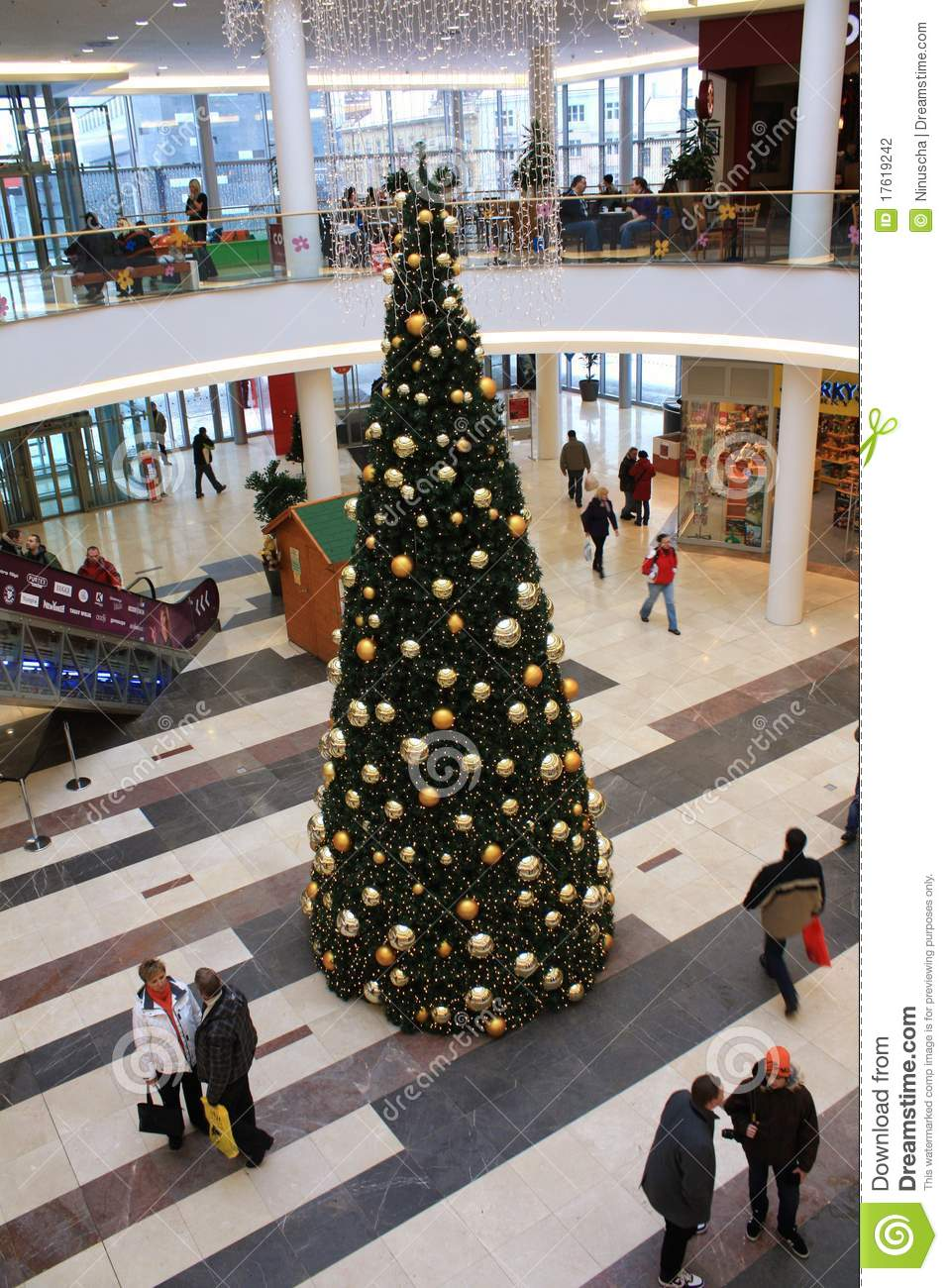 Christmas Tree Inside The Shopping Center Editorial