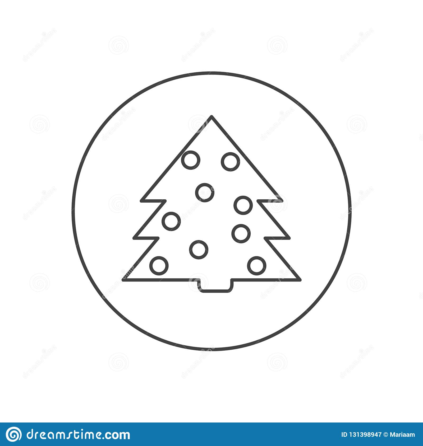 Christmas Tree Line Icon Outline Vector Sign Simple And