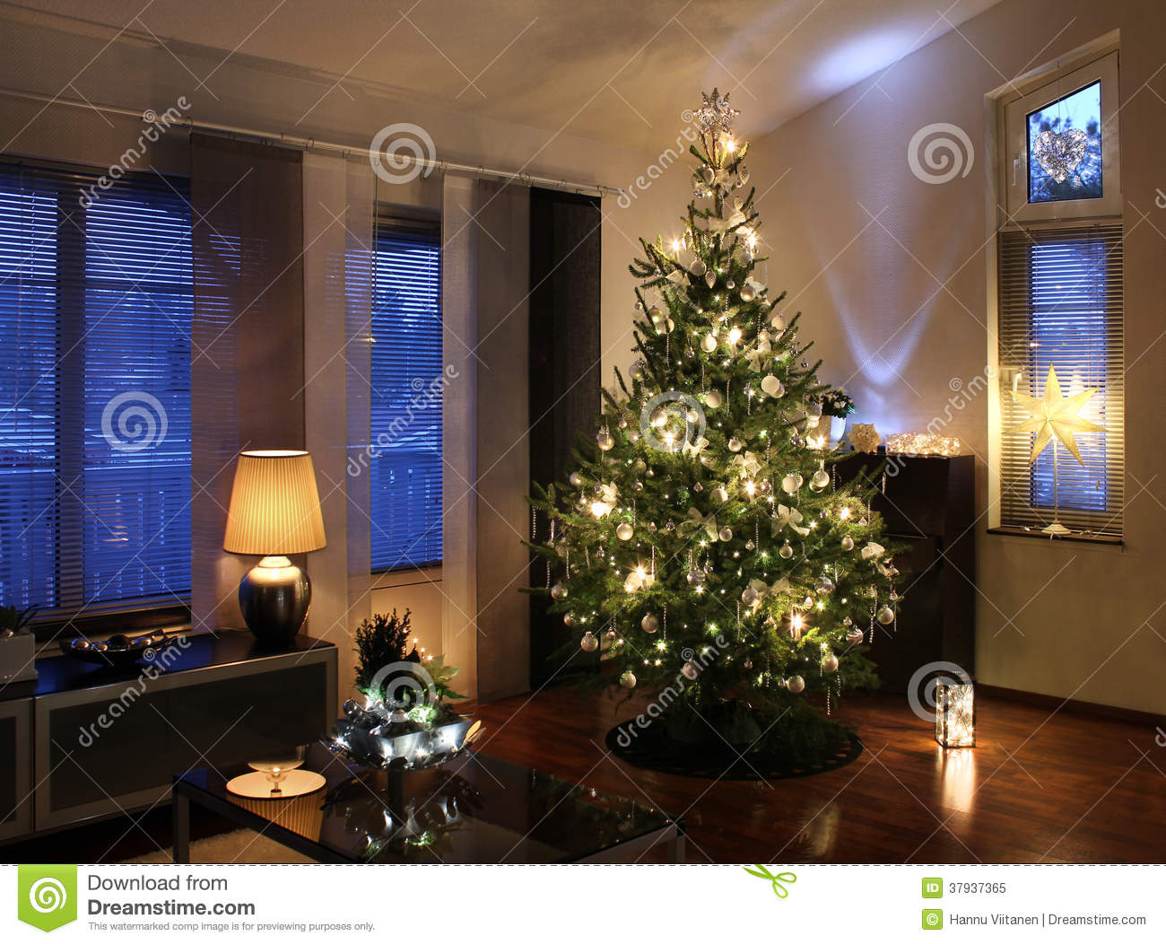 Christmas Tree In Modern Living Room Stock Image  Image