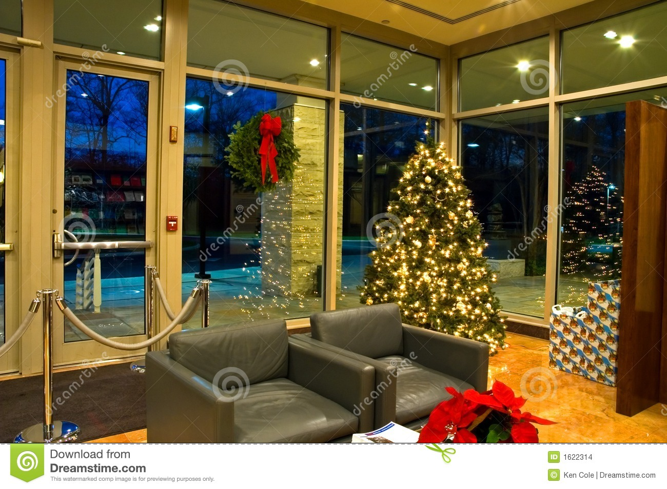 Christmas Tree In Office Lobby  2 Stock Photo  Image of office entrance 1622314