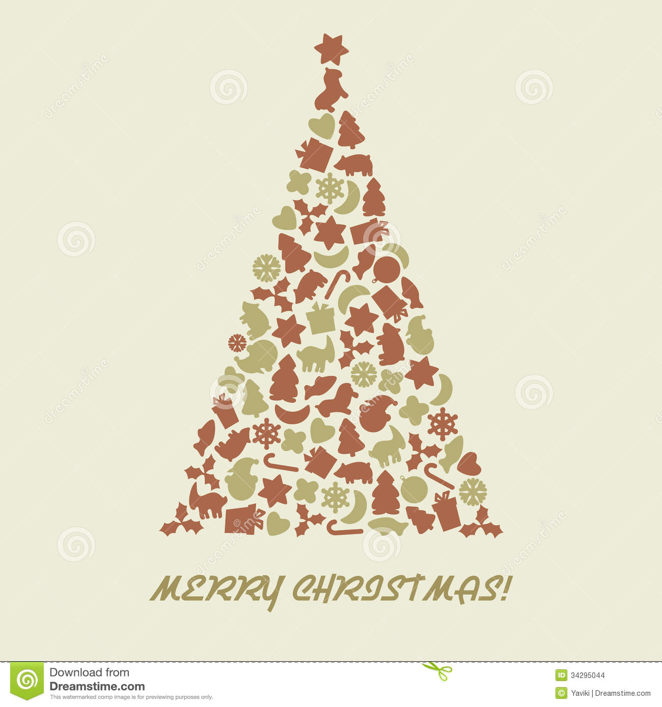 Christmas Tree In Retro Style Stock Vector Image 34295044
