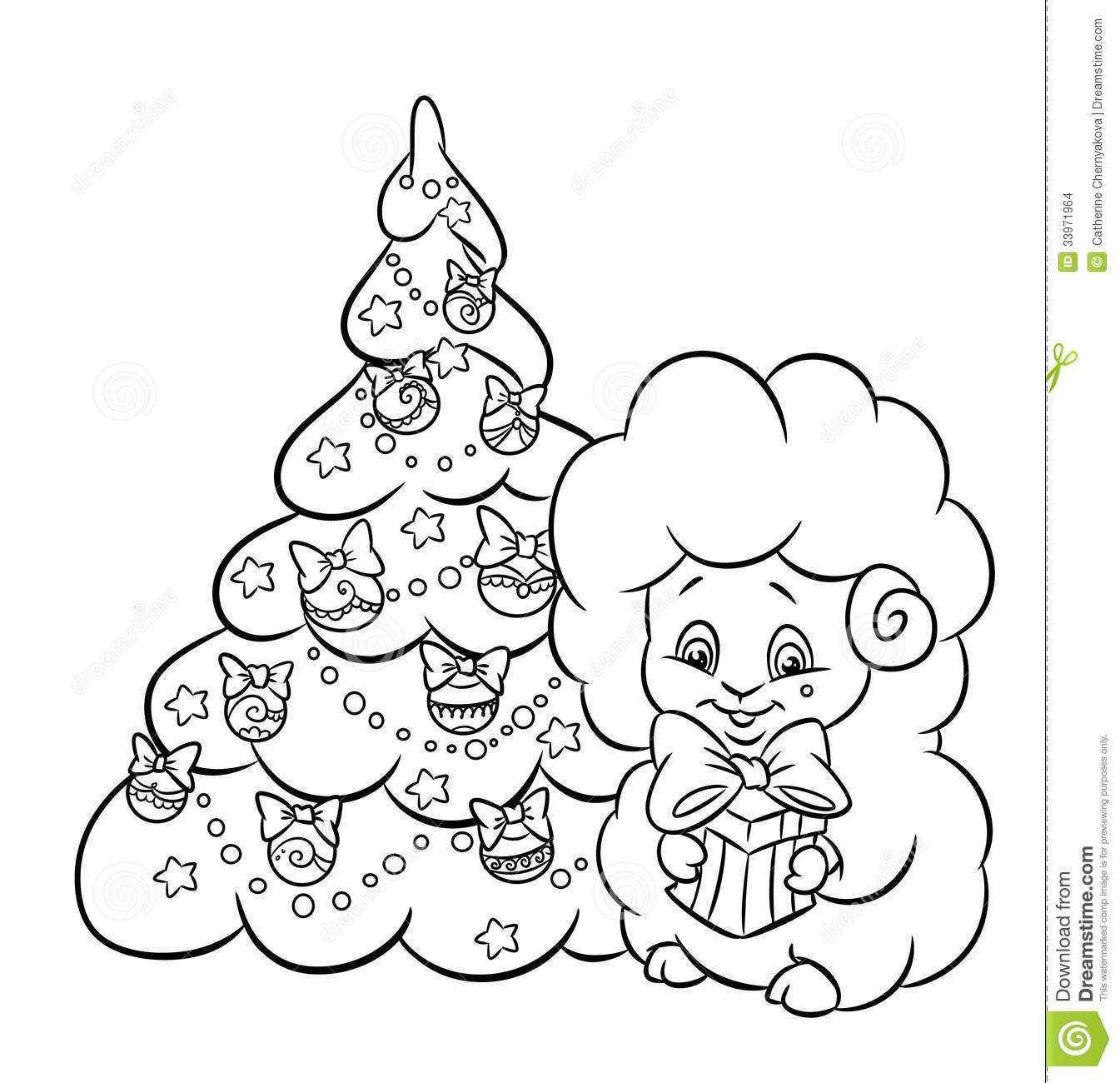 Christmas Tree Star Garland Lamb Coloring Page Stock