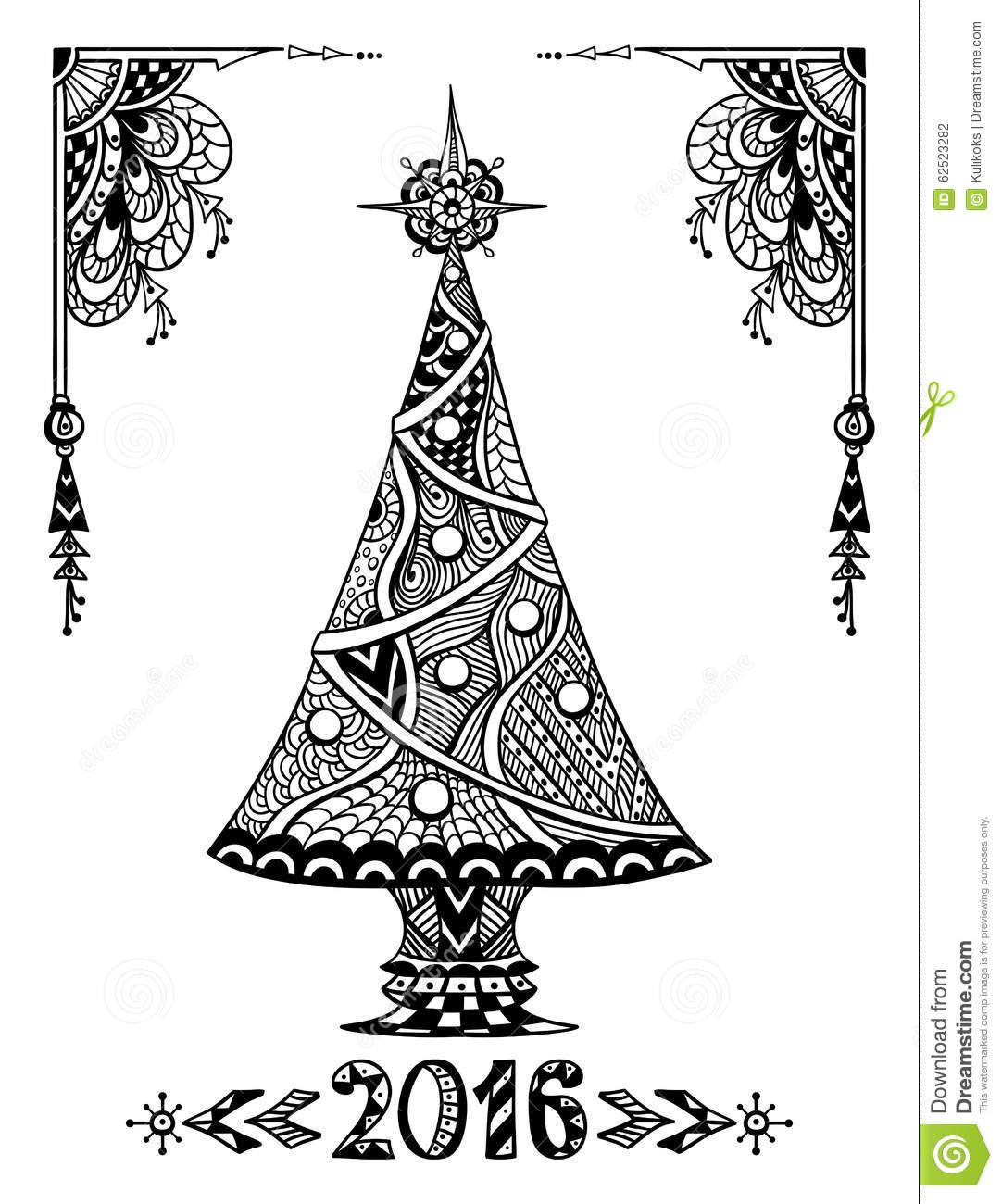 Christmas Tree In Zen Doodle Style Black On White Stock