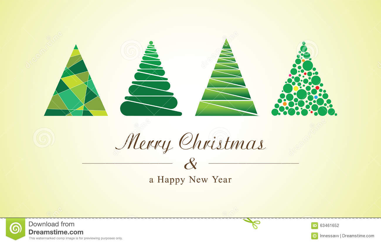 Christmas Trees Of Geometric Shapes Vector New Year Card