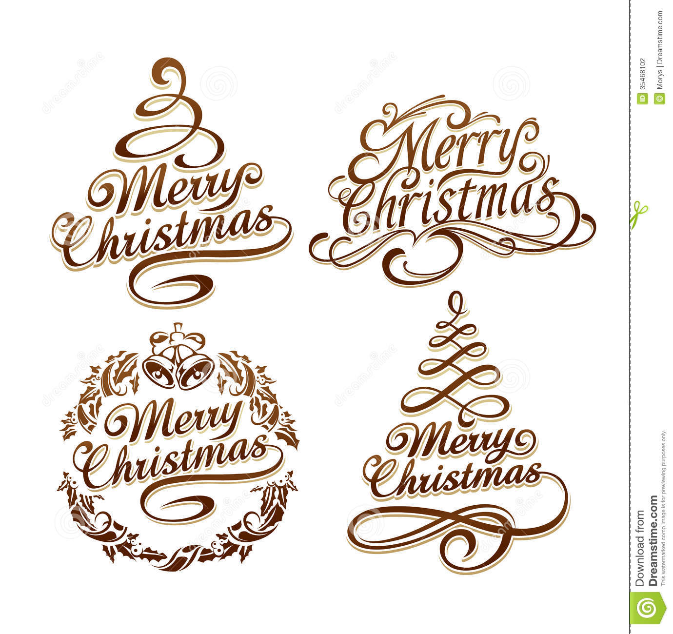 Christmas Typography Set Stock Vector Illustration Of