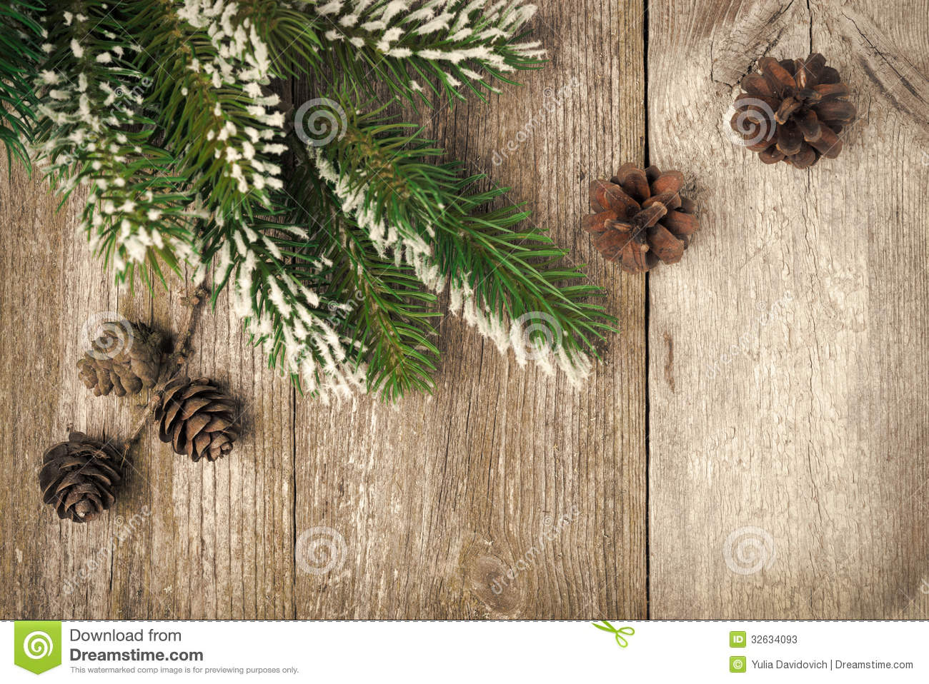 Christmas Vintage Background With Fir Branches And Cones