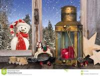 Christmas Window Decoration With Old Toys And A Lantern