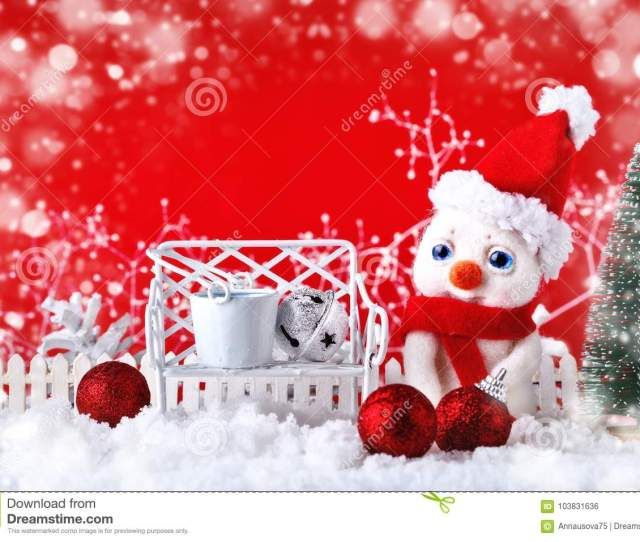 Christmas Winter Background With A Small Snowman And Christmas Ornaments Merry Christmas And Happy New