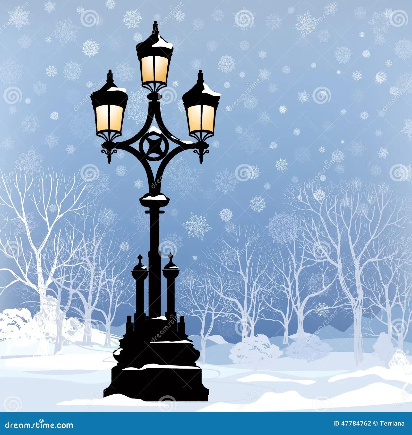 Christmas Winter Cityscape With Luminous Street Lamp, Snow
