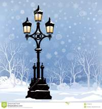 Christmas Winter Cityscape With Luminous Street Lamp, Snow
