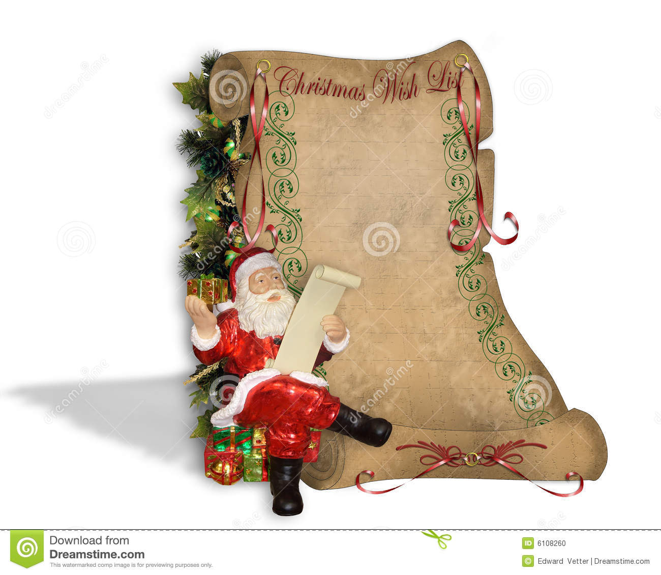 Christmas Wish List On Old Parchment Stock Illustration