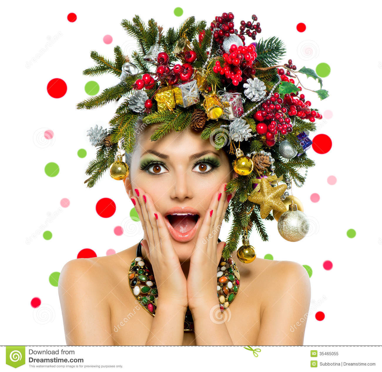Christmas Woman stock image Image of copyspace decoration  35465055