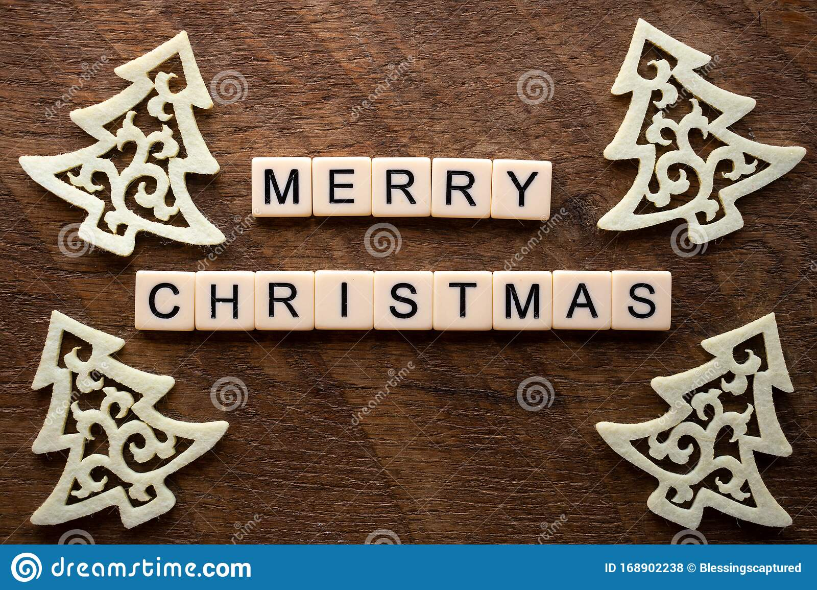A Christmas Word With Scrabble Letters Stock Photo
