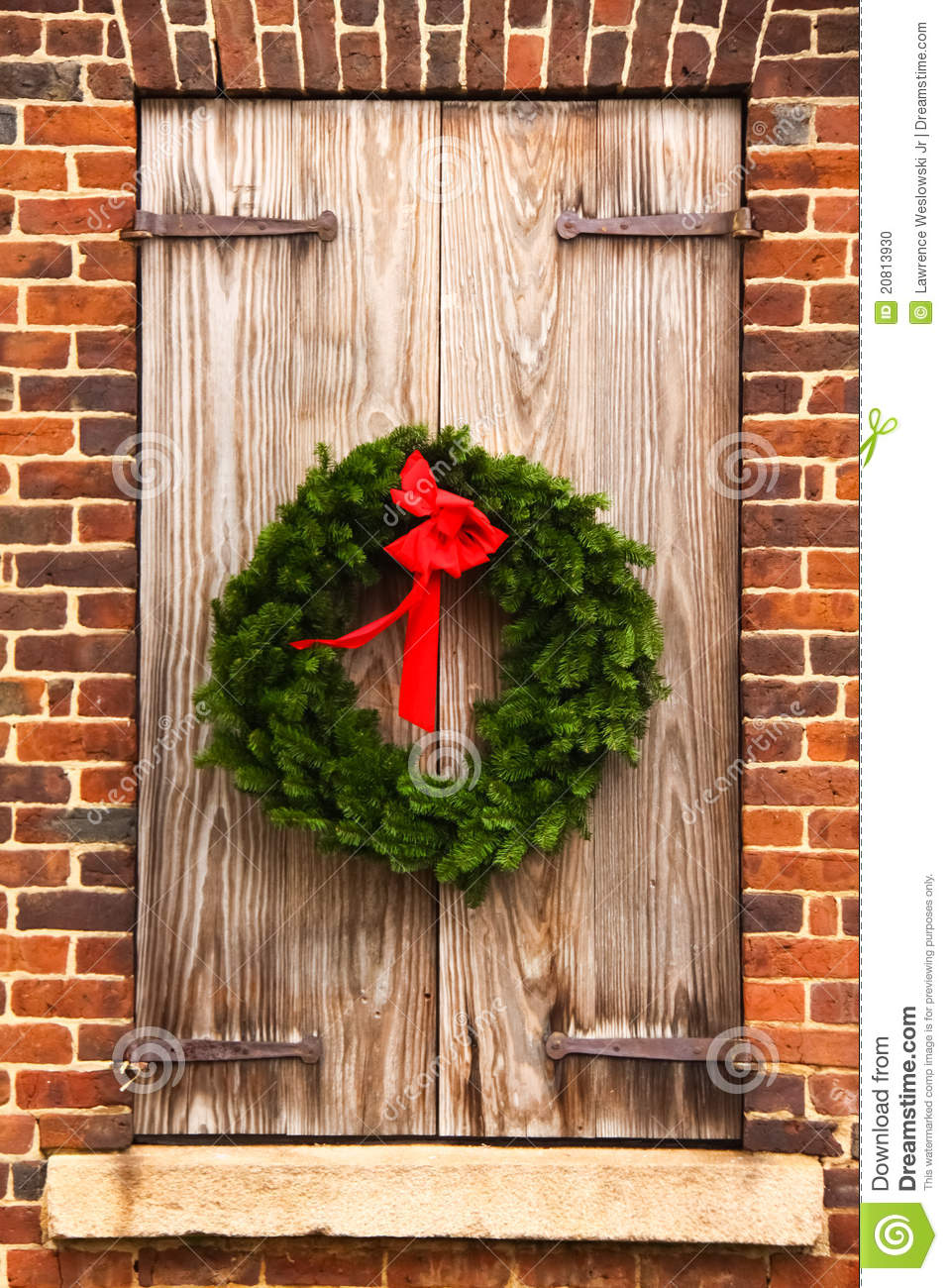 Christmas Wreath Wooden Shutters Red Brick Wall Stock