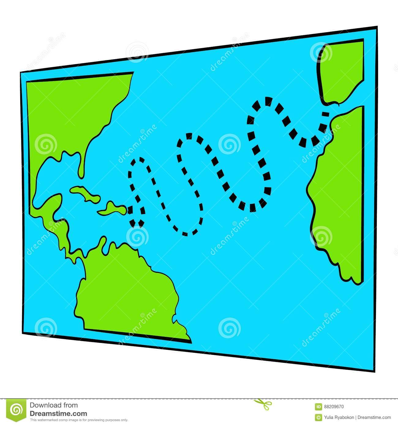 Christopher Columbus First Voyage Map Icon Stock Vector