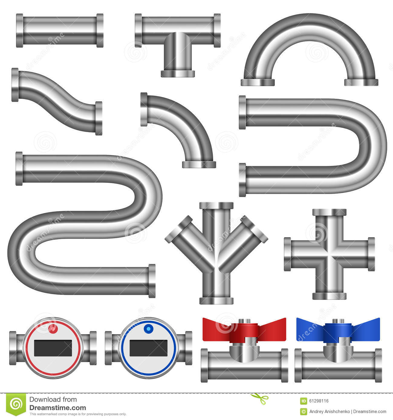 Chrome Pipes And Fittings Stock Vector