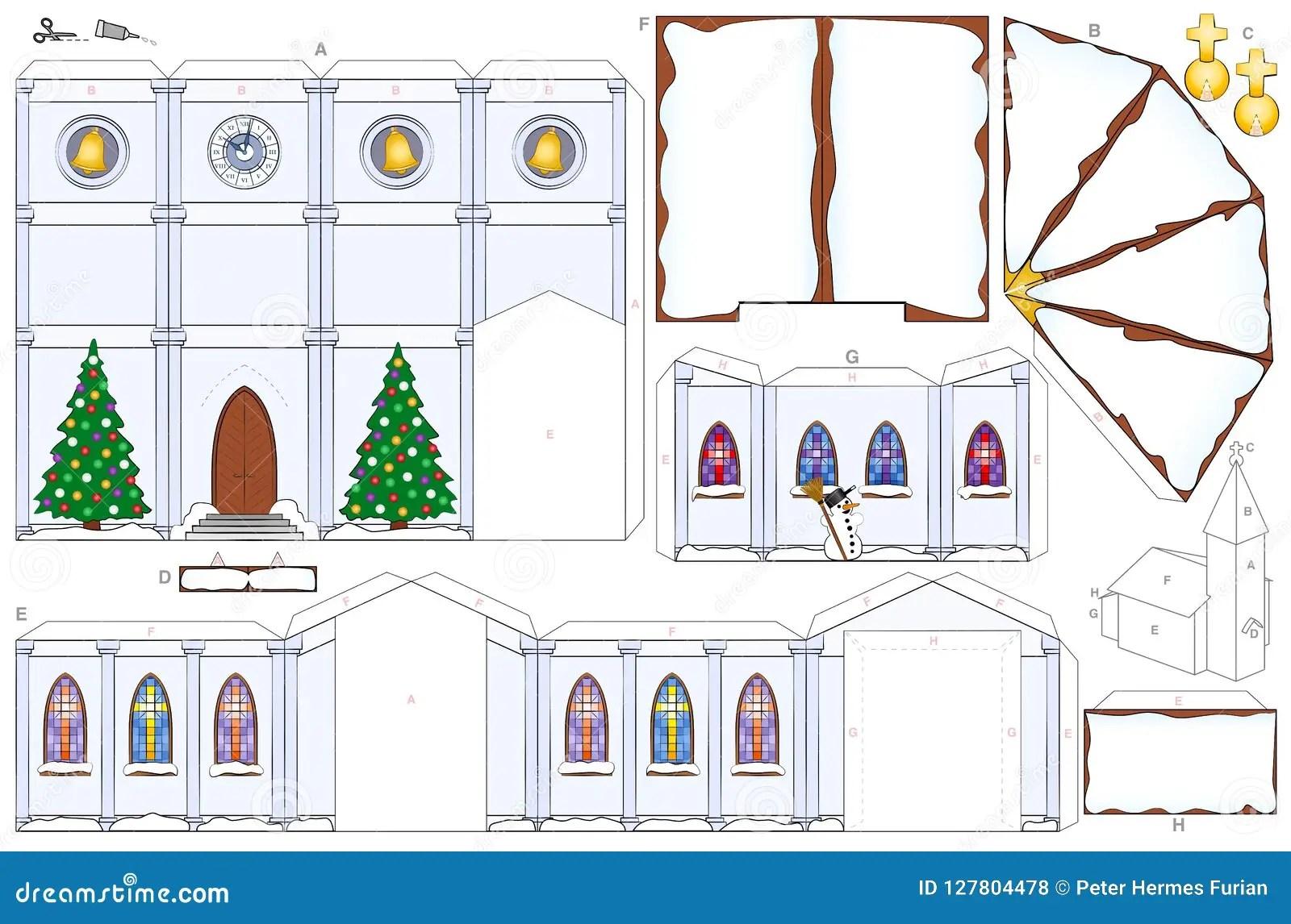 Church Christmas Winter Snow Paper Craft Template Stock