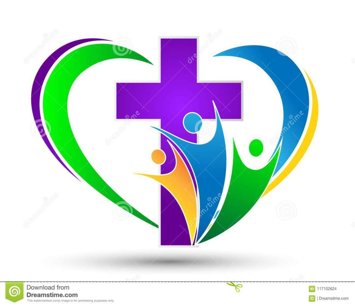 Download Church Logo With Family With Love Heart Shaped Stock ...