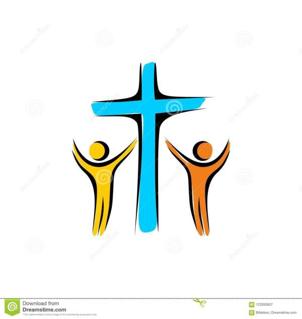 Church Logo. Loving God. Unity In Christ Stock Vector