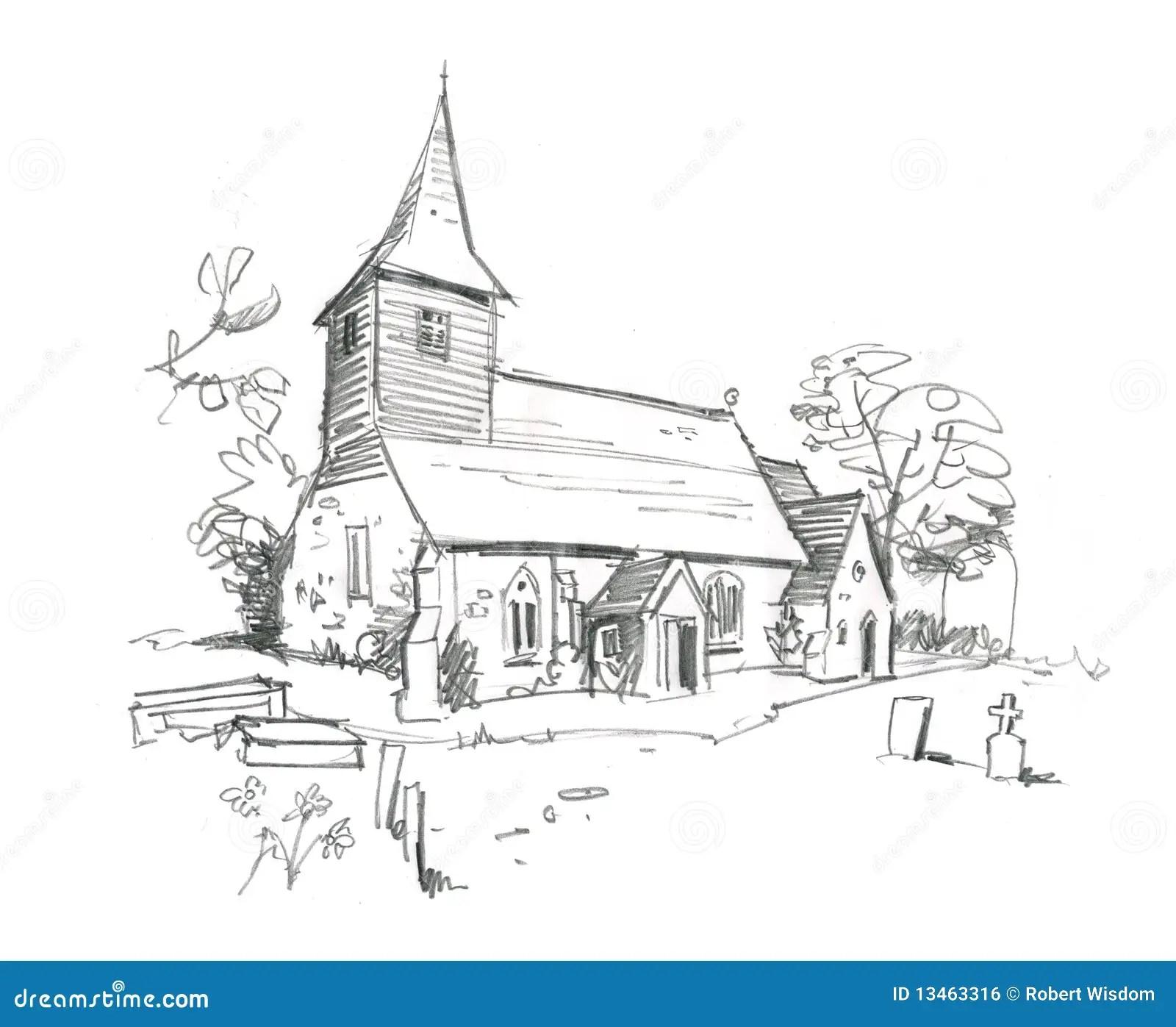 Church Pencil Sketch stock illustration. Image of british