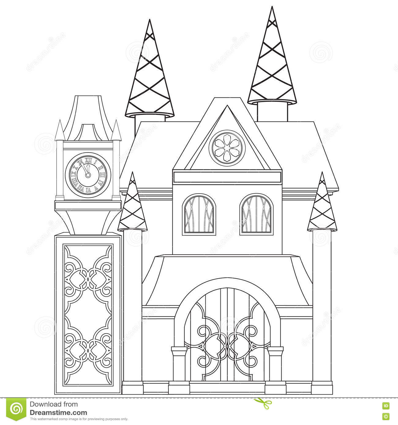 Cinderella Castle Coloring Book Page Stock Vector