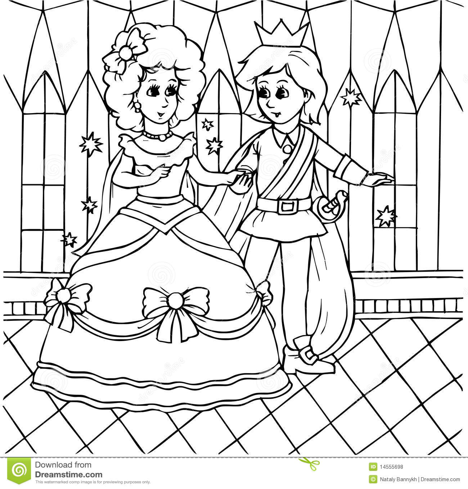 Cinderella Dancing With Prince Stock Illustration