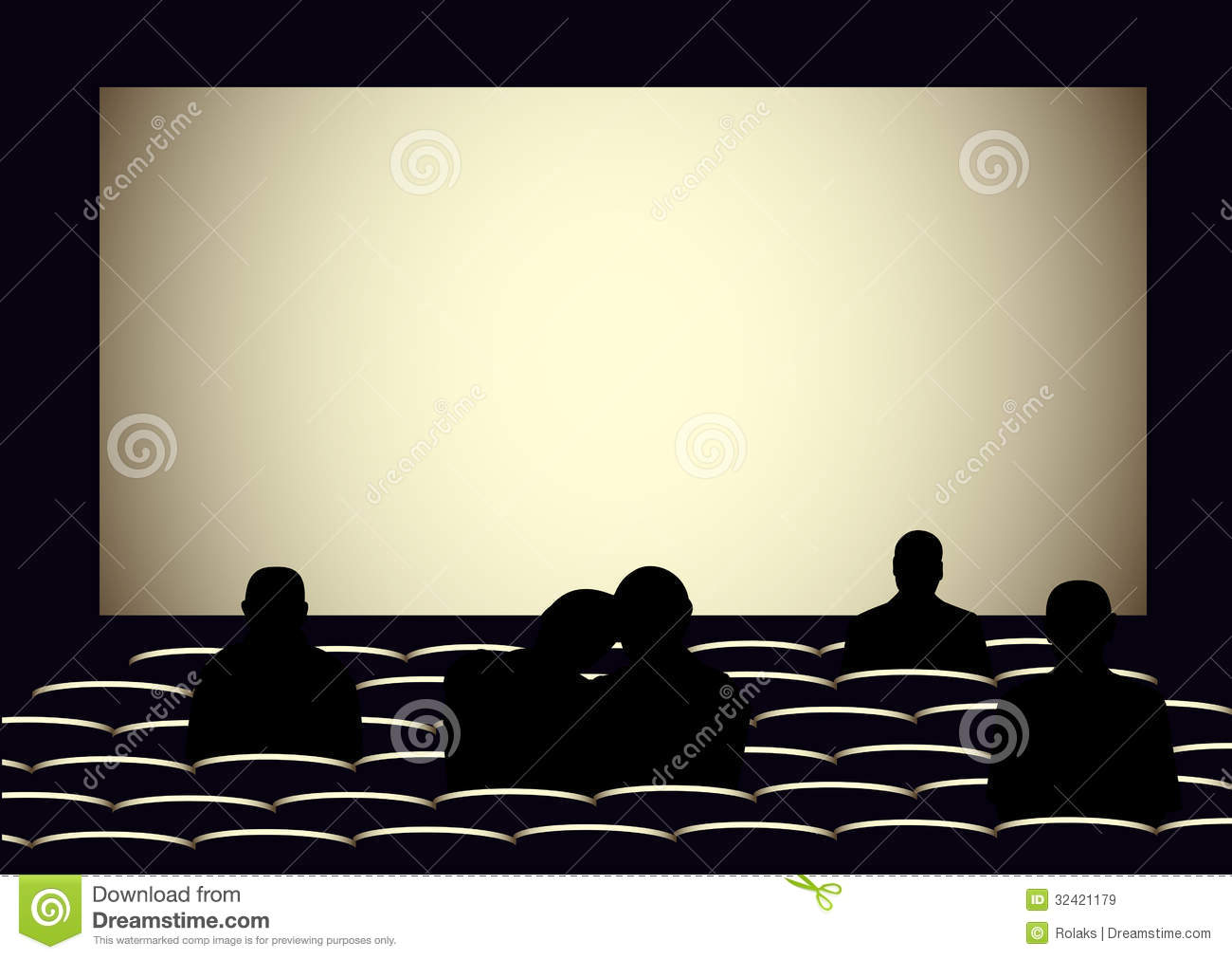 Cinema With Silhouettes Of People Stock Vector