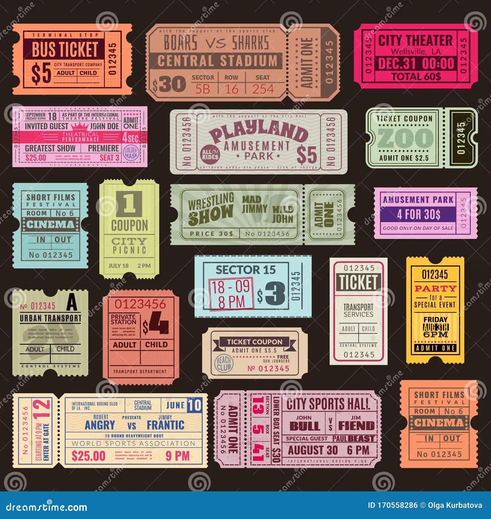 https www dreamstime com cinema theater ticket set vintage invite tickets stamp retro voucher museum concert event isolated cinema image170558286